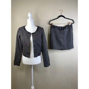 Bejeweled tweed cropped blazer skirt set